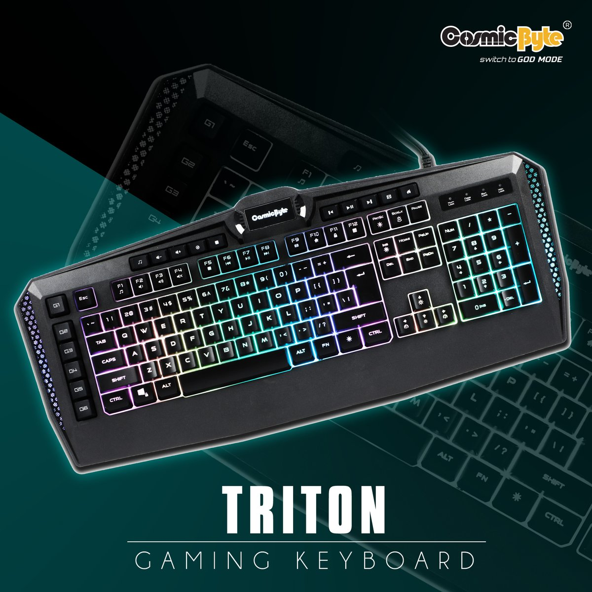 The purposefully crafted Triton per key RGB, 6 macro keys, software Gaming Keyboard from #CosmicByte comes with Full RGB with Software to control LED lights, Assign Macros to the 6 gaming keys  To Buy click on the link : https://bit.ly/3gnTH56   #Gaming #Gamingkeyboard pic.twitter.com/O1YsOjyVWK