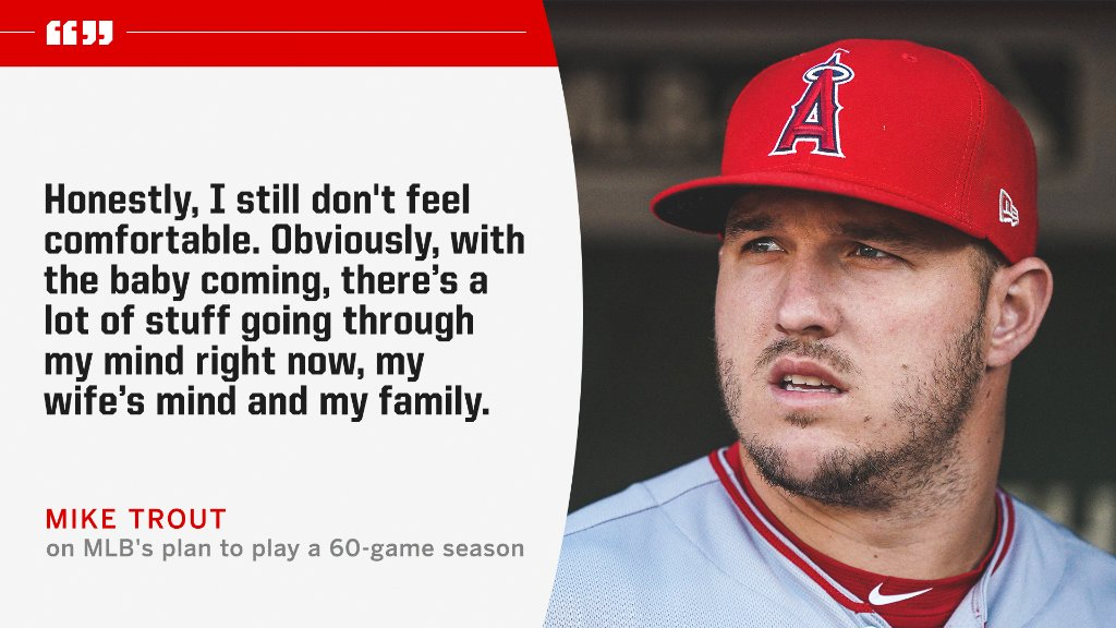 Mike Trout and his wife, Jessica Cox, are expecting their first child to be born in August.   He is concerned for his family's safety with MLB's return.