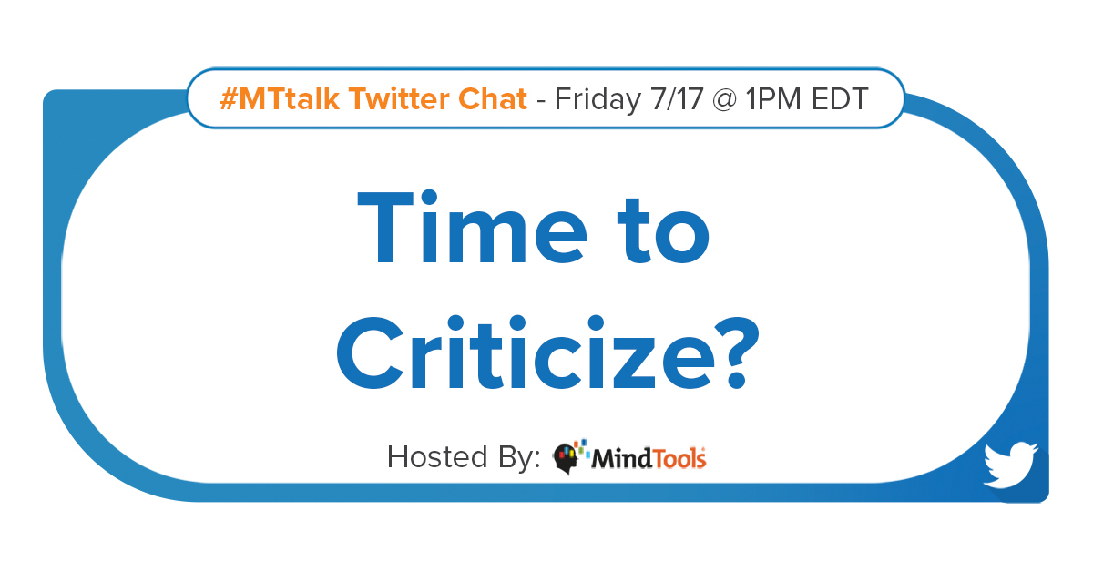 """Our topic for next time's #MTtalk is """"Time to Criticize?""""  If you'd like to suggest a question for this topic, please tweet us. See you same time, same place, two weeks from now! https://t.co/nUlGv1kCUS"""