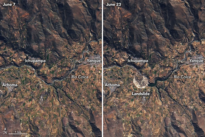 In #Peru, a landslide damaged farmland and stopped the flow of an important river. earthobservatory.nasa.gov/images/146925/…