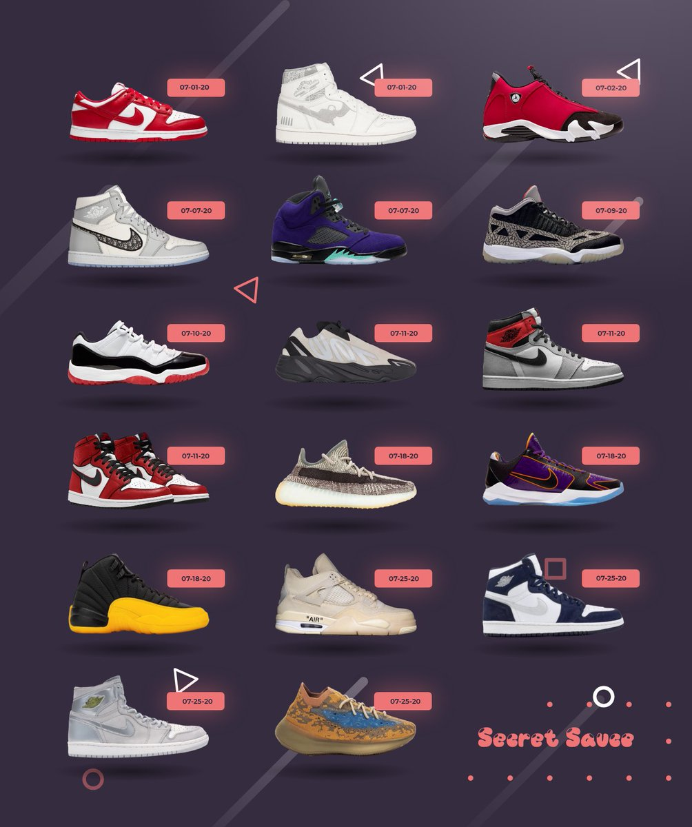 July looks oh so good.  We'll be cooking up all of these releases - will you?  #nike #travisscott #secretsauce #secretsaucegroup #travis #cook #shoe #sneaker #cookgroup #kicks #yeezypic.twitter.com/Oc9o8jGzPC