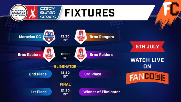 🏏  Here are the Super Sunday fixtures of the ECN #CzechSuperSeries !  You can watch all these matches LIVE on the #FanCode app. Download now: https://t.co/NhBMDC1MiN   . . #cricket #T10 #EuropeanCricket #ECN #Czech #Kriket #Czechia #CzechRepublic @CzechCricket @EuropeanCricket https://t.co/iPFGVwRo5K