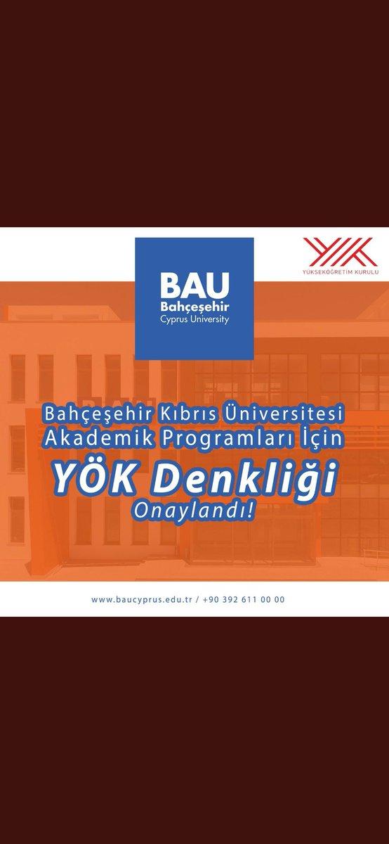 Bahçeşehir Kıbrıs Üniversitesi akademik programları için YÖK denkliği onaylandı! 💙 #bau #baucyprus #baufamily #welovebau #youmatterwecare https://t.co/fZLx256nkz