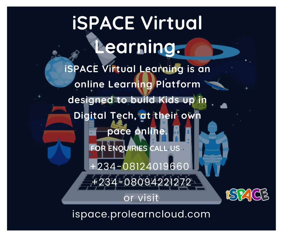 Ispace Virtual learning is an online platform for kids ages 5 to 17 to train them on a career path in Coding. #codingisfun #100DaysOfCode #100DaysOfMLCode  #codinglife #codingbootcamp pic.twitter.com/DrJK3QlRiR