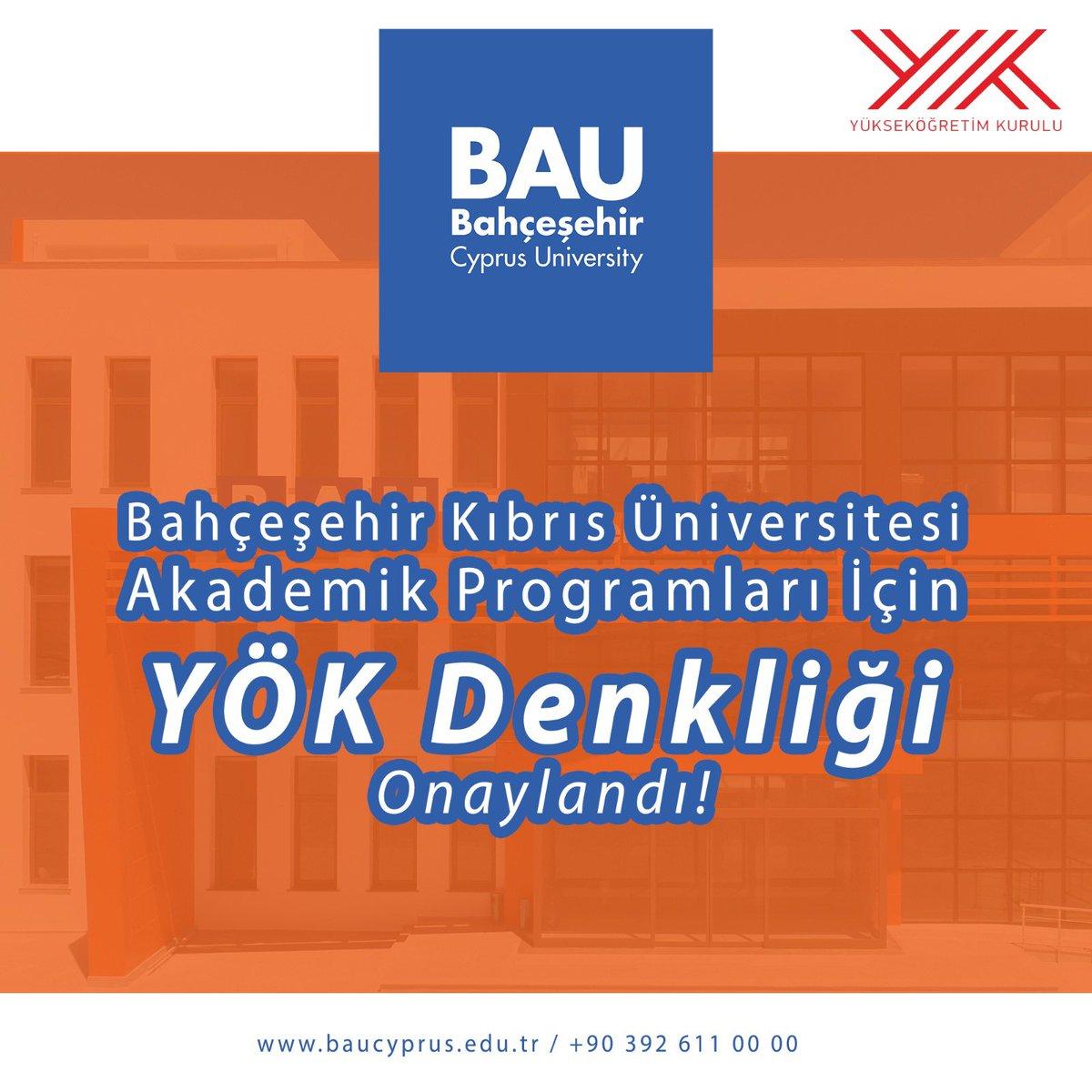 Bahçeşehir Kıbrıs Üniversitesi akademik programları için YÖK denkliği onaylandı👏 #bau #baucyprus #baufamily #welovebau https://t.co/7VZIOZ0v40