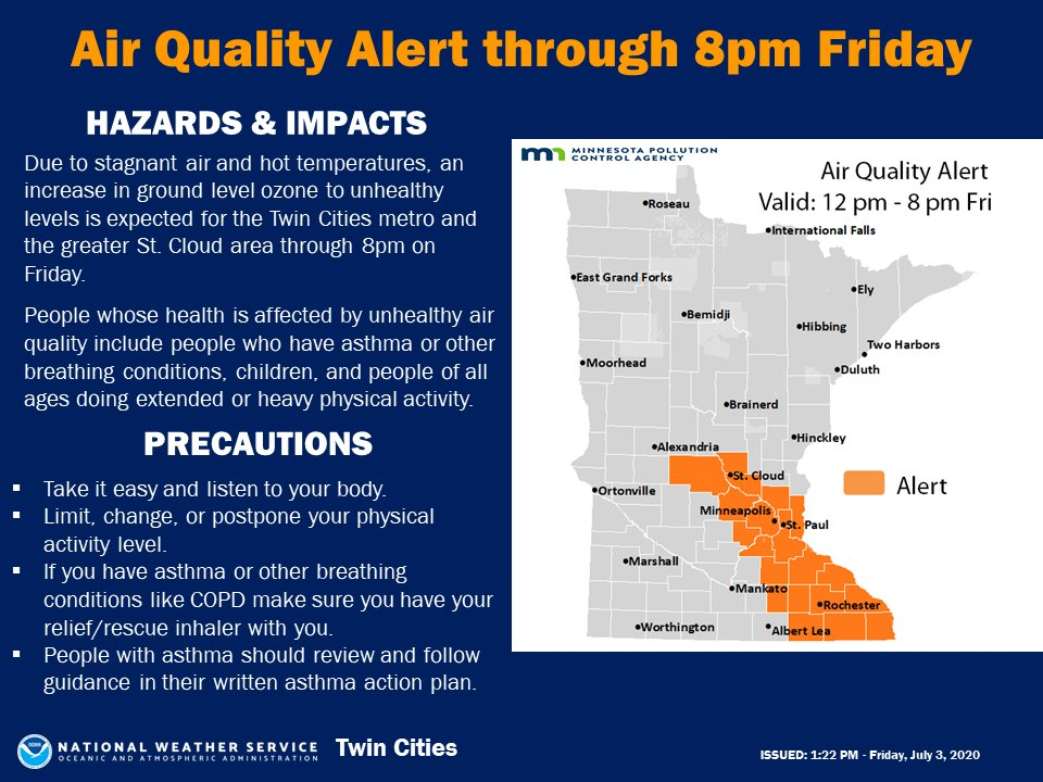 An Air Quality Alert has been issued effective Friday, July 3rd, thru 8PM by the Minnesota Pollution Control Agency. The affected area includes east-central & southeast Minnesota, including the Twin Cities, St. Cloud, Rochester, Winona, & the tribal nation of Prairie Island #mnwxpic.twitter.com/zjtQ3TWUzd