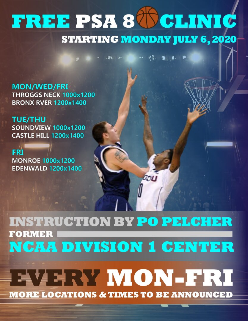 Did you know PSA8 has a 6'10 former NCAA 🏀 Division- 1 basketball player? Starting next Monday our kids will get to know him! 5x a week! Free 2 hour B-Ball clinics, social distancing rules and 😷's will be provided along with some great instruction ⛹🏽&⛹🏽♀️of all ages are welcome https://t.co/x1kyxKIB04