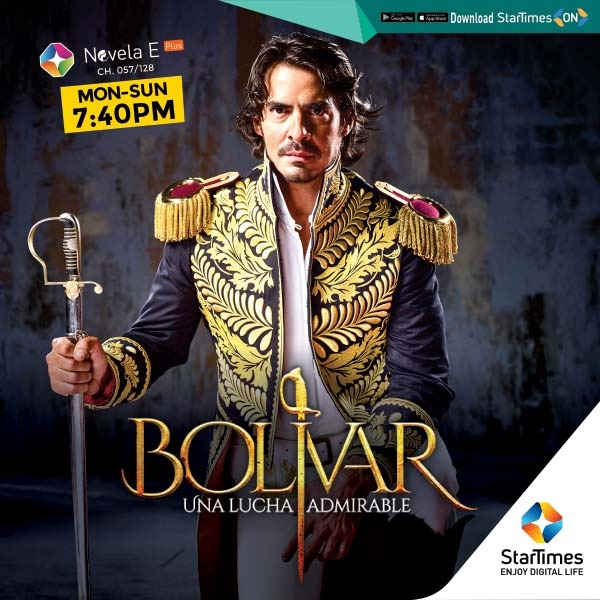 "Hey, Stars!  Bolivar - the man and the legend is coming!   You do NOT want to miss the premiere of ""BOLIVAR"" starting July 21, 2020 and showing Mondays - Sundays @7:40pm on #STNovelaEPlus  Get Ready!!  #Bolivar #StarTimesCares #telenovelas https://t.co/YferQYgbL2"
