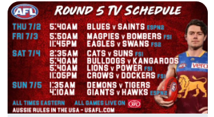 No need for shady streaming links. This weekend's Aussie Rules TV schedule below. No excuse not to bet and watch.
