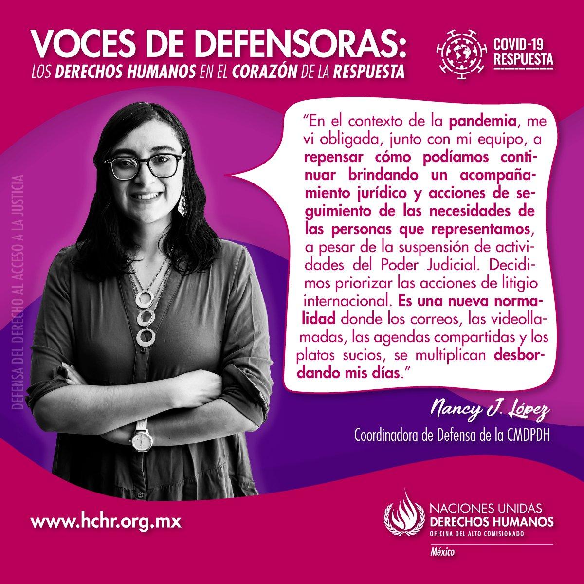 Nancy López, Coordinadora de Defensa de la @CMDPDH , usa su voz para defender el derecho de acceso a la justicia en medio de la nueva normalidad.   #VocesDeDefensoras #ONUMxCovid19  ¡Visita y comparte! 👉 https://t.co/0Y0KZfxhA0 https://t.co/2uKHrEZlXL