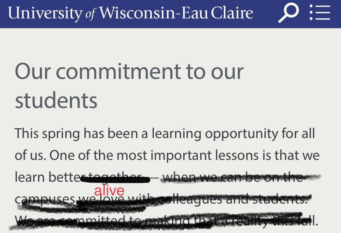 Fixed it. You're welcome, @ChancellorJim & @UWEauClaire #keepteacherssafe #campussafe #virtuallearning #highered