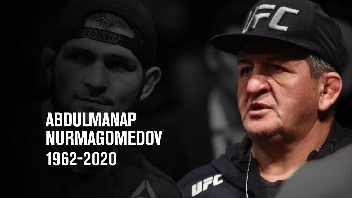 Abdulmanap Nurmagomedov (1962-2020)  The UFC family sends its sincerest condolences to the Nurmagomedov family on the passing of Abdulmanap Nurmagomedov. https://t.co/SPpynZ2xJC
