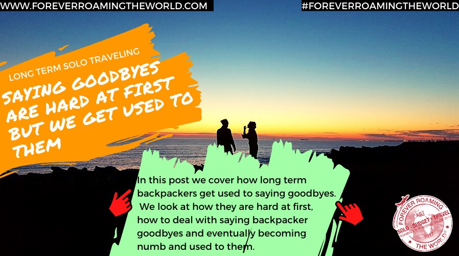 ne of the hardest things a backpacker has to get used to is saying goodbye to those we get close to - but we do get used to it over time - Find out how here... #backpacking #ttot #solotravel  http://www.foreverroamingtheworld.com/solo-backpacker-goodbyes/ …pic.twitter.com/jPctKrgHRo