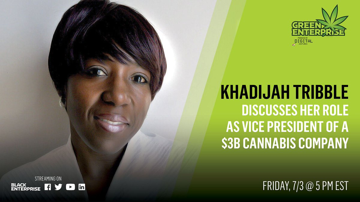 Khadijah Tribble is VP, Corporate Social Responsibility at Curaleaf. Join her on #GreenEnterprise as she discusses her role as Vice President Of A $3B cannabis company at 5 p.m. EST streaming via our Twitter, Linkedin, and Facebook pages. https://t.co/kU2LY1y3A6