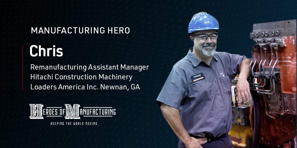 Chris works in the Remanufacturing Program at #WeRHitachiLoaders, ensuring safety for key supply deliveries needed in the fight against #COVID19. He is one of our Hitachi #ManufacturingHeroes. Way to go Chris! Nominate your #manufacturing hero: https://t.co/jmUJY7C1qF https://t.co/jST4ttaKNR
