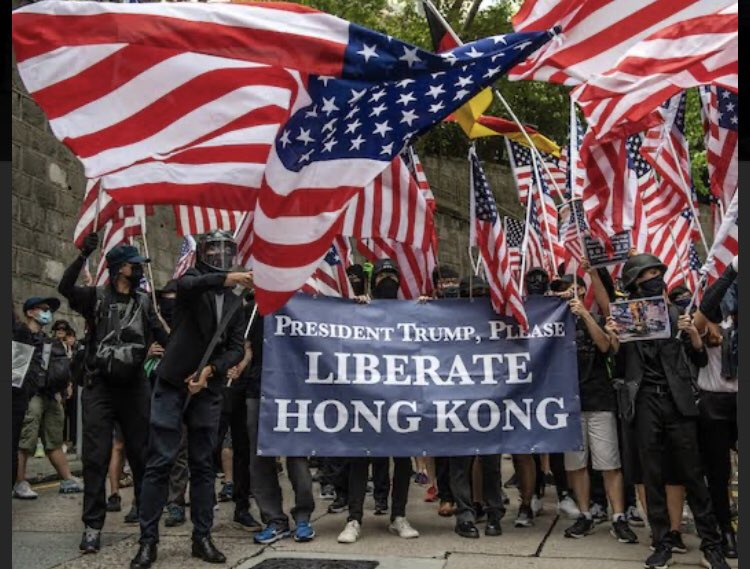 It's official. The Hong Kong protesters love America more than Americans love America. Y'all are welcome to immigrate here any day! We have your six. Help is coming. 🥰🇺🇸❤️ #HongKongProtests #HongKongProtesters https://t.co/QOTRKl8keS