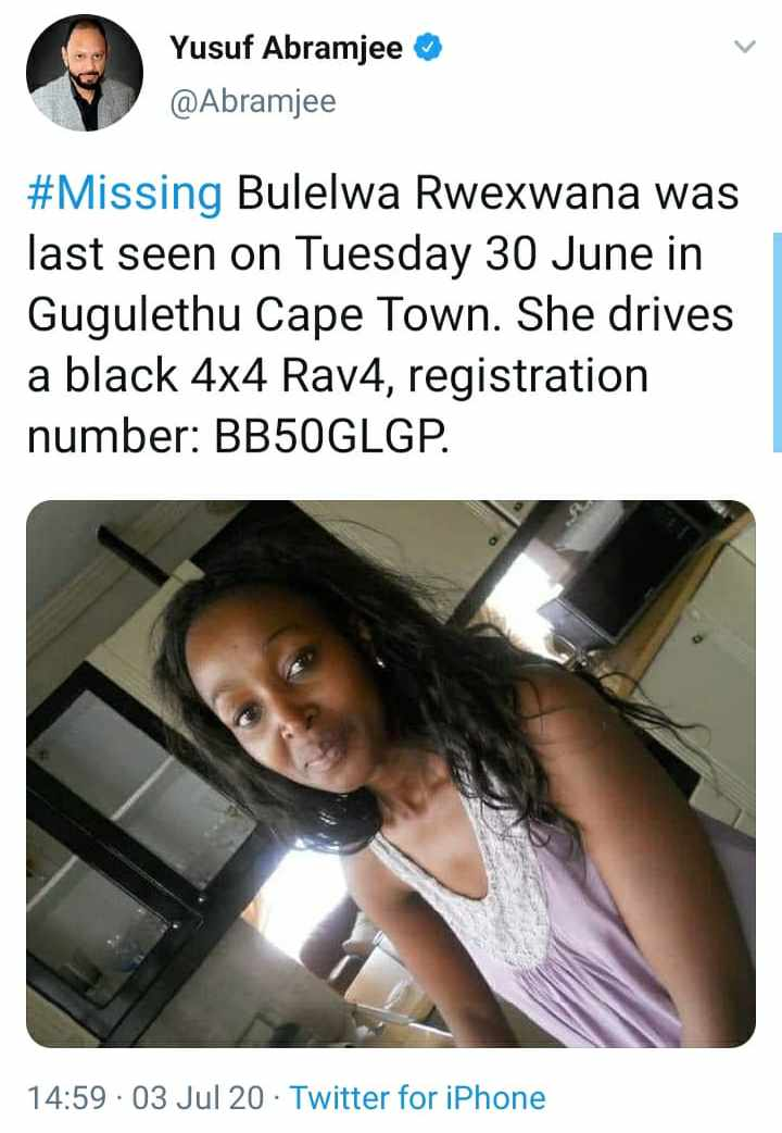 Whats the point of having so many followers that cant help with a retweet to help find a loved one that has gone missing....Im posting this for the second time coz there was no retweets the first time...please help us find Bulelwa who was last seen Tuesday...Please retweet 💔