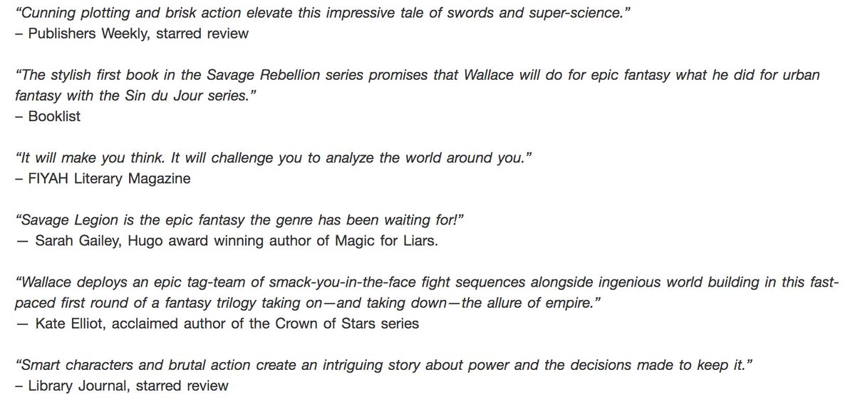 So, HEY. I have a new book out in 18 days! Its called SAVAGE LEGION. Its my epic fantasy debut. Its a very, VERY big deal to me. Its everything I love about fantasy. It would mean a lot to me if you preordered it. Heres what folks are saying about it! indiebound.org/book/978153443…