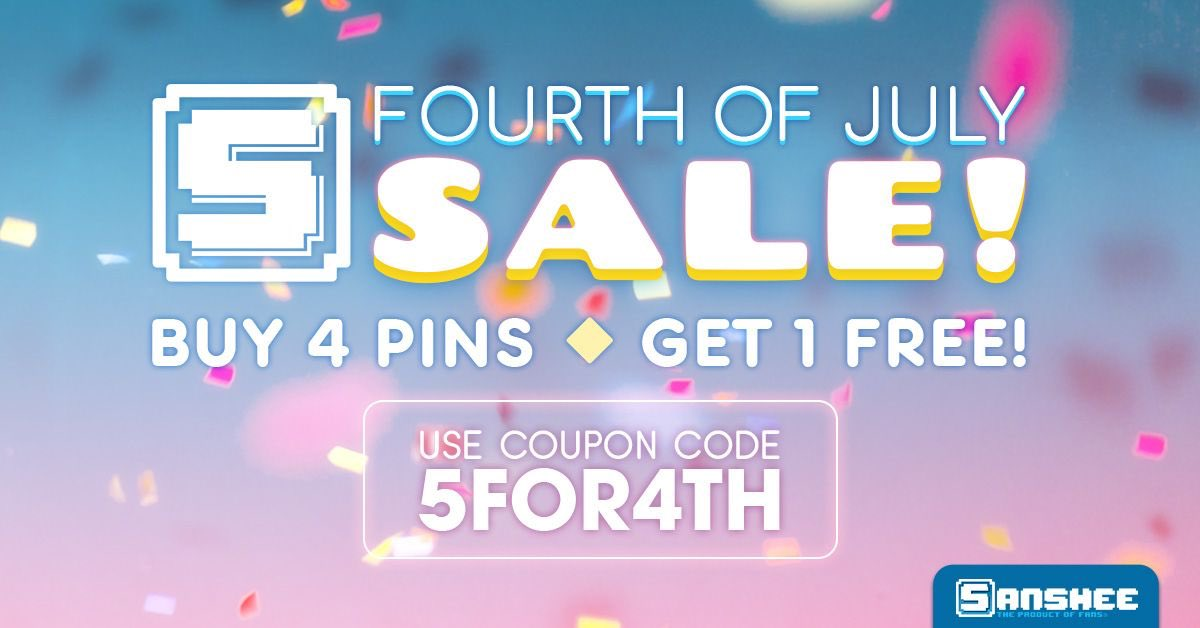 #PinDeals @TeamSanshee is offering a Buy 4 Get 1 free deal on pins at Sanshee.com through July 9th using #Promo code 5FOR4TH #Bioshock #Anthem #Catherine #Atlus #Bioware #Dauntless #DragonAge #LifeIsStrange #FreedomPlanet #MassEffect #Garrus #NoMoreHeroes #Persona4