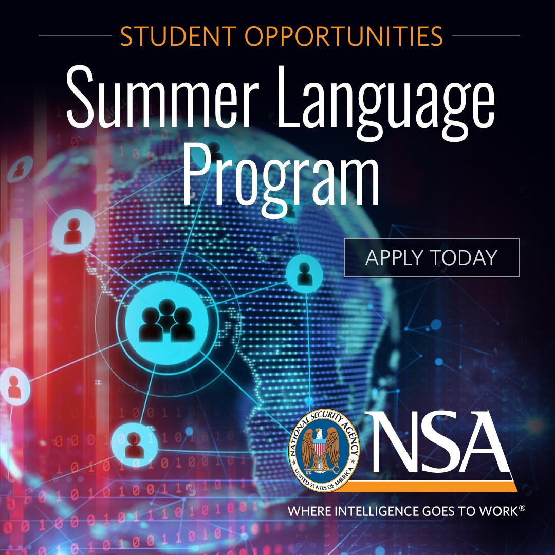 Plan now for summer 2021! If you are a college student who speaks Arabic, Chinese, Farsi, Korean or Russian, NSA invites you to join the Summer Language Program. You'll get paid to spend the summer on our language analysis team! https://t.co/Zziijuu8cM https://t.co/0ivLs7VSlR