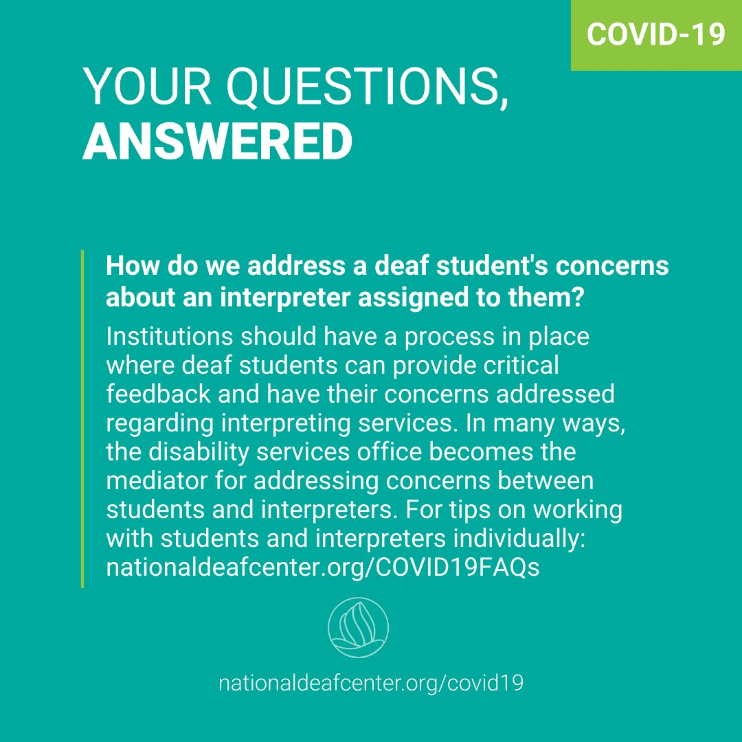 If your deaf student has a concern about interpreters, a process should be in place for addressing these concerns. Find tips on working with students and interpreters: https://t.co/03yEEqPmf4 https://t.co/D3w0EZYWJe