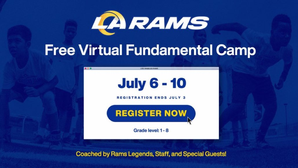 Registration ends today for our FREE Virtual Youth Football Camp! This camp is for all students in 1st through 8th grade.   Learn more & register here ➡️ https://t.co/63g0E2mlCg #LARams https://t.co/3lefrDawST
