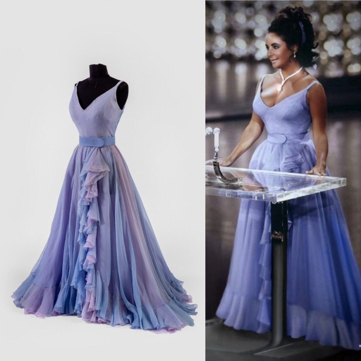 """Dr Kate Strasdin no Twitter: """"A thousand watts of #Hollywood glamour here  in the gorgeous shape of #ElizabethTaylor in ruffled lilac designed by  Edith Head. Taylor wore the dress to the 1970 #"""