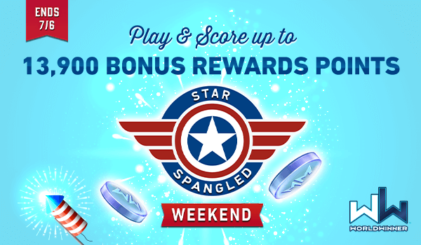 Play & Score up to 13,900 bonus Rewards Points until noon ET Monday during our star-spangled weekend event! 🇺🇸🎆🇺🇸🎆🇺🇸  https://t.co/LR3oGrdnvA #independenceday2020 #4thofJuly #playgames #cashgames #wincash #4thofJulyweekend #fridayfun https://t.co/gu5i1rYOvT