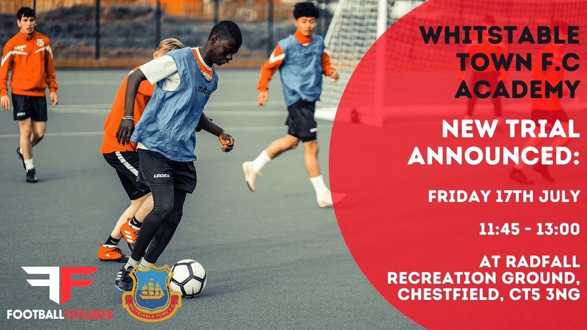 NEW TRIAL ANNOUNCED | We are delighted to release a new trial date for our Academy for 16-19 year olds. This trial will be run in line with government and FA guidelines.   Date: Friday 17th July Time: 11:45 - 13:00 Location: Radfall Recreation Ground, Chestfield, CT5 3NG pic.twitter.com/Dy6UstSqaP