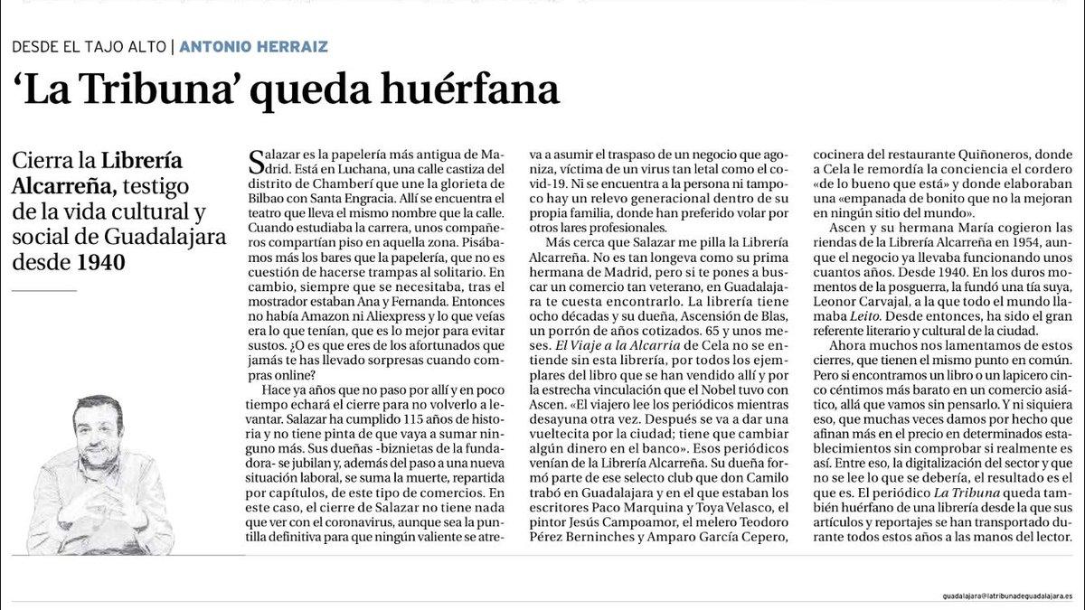 La Tribuna se queda un poco más huérfana. Cierra la Librería Alcarreña.  https://t.co/P98mX8KdxH https://t.co/boXUNHKf3W