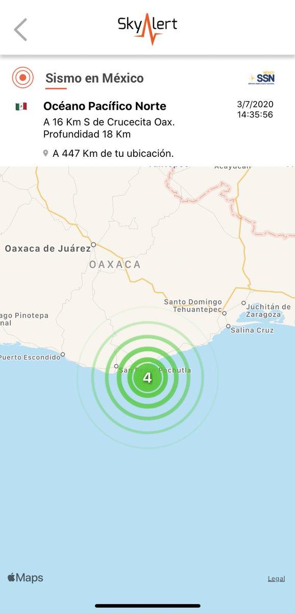 SSN calcula magnitud en 4.0 a 16 km al sur de Crucecita, Oaxaca.  Detectado por @RedSkyAlert con intensidad «débil» en epicentro. https://t.co/nricO6e2FW
