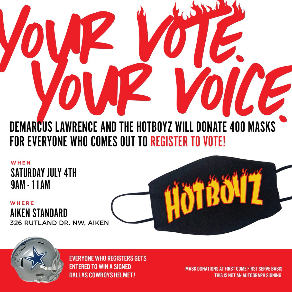 Vote the CHANGE you want to see in the WORLD. For those un-registered voters in the Aiken area come down to the @aikenstandard tomorrow from 9am-11am to register to vote & receive a free @HotBoyzTM mask &  be entered to win a @dallascowboys signed helmet! 🤘🏿#YourVoteYourVoice 1/2 https://t.co/g7yCUj0pPb