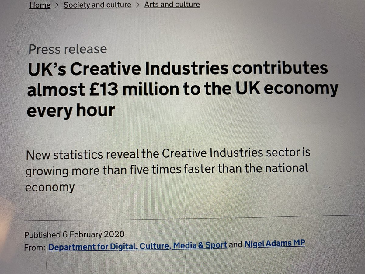The arts help fund our public services. It is one of the UK's fastest growing sectors. Can't believe the short-sightedness of the crass comments I'm reading to @RobBrydon's absolutely reasonable tweet.pic.twitter.com/sl9Se3LGrE