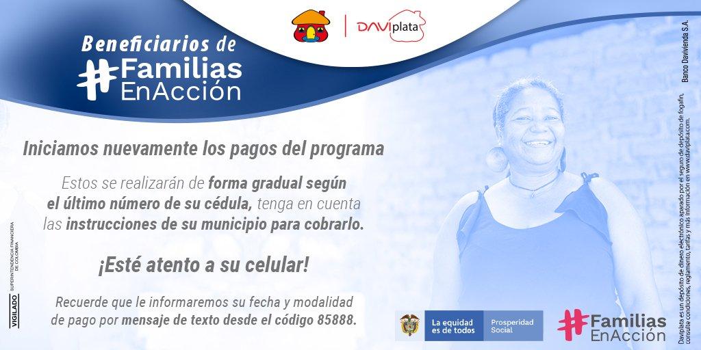 Inicia la nueva etapa de pagos de Familias en Acción con DaviPlata, tenga en cuenta esta información y esté atento a su celular. https://t.co/ef7hs29kxR