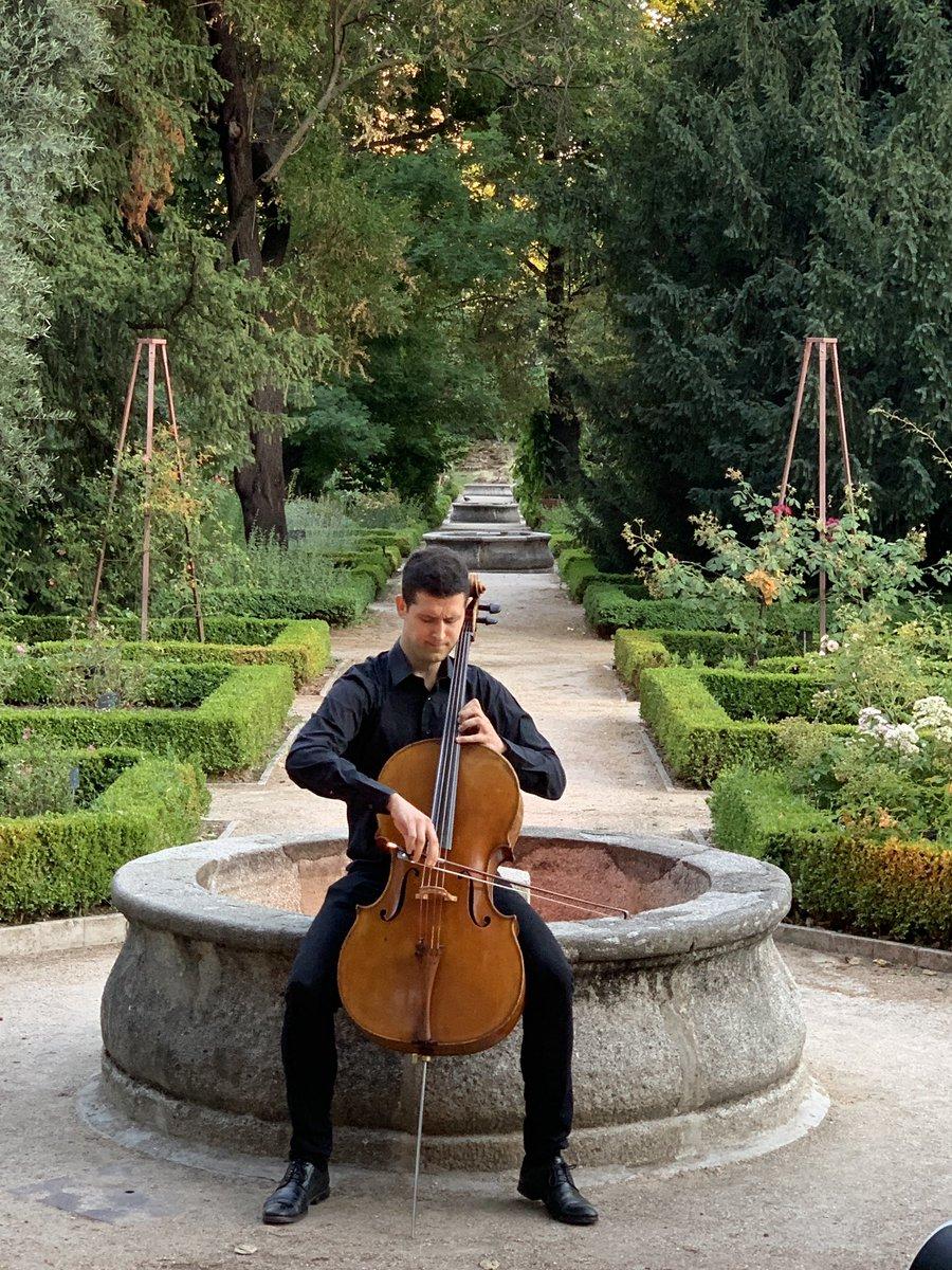 Solista de violonchelo en la Rosaleda.  #PaseosMusicales @RJBOTANICO @CSIC @la_fabrica @Bankia   📸 Jesús G. Rodrigo https://t.co/yP8PKsk6cq