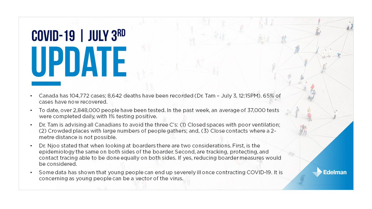 July 3rd: A summary of today's health official update. For the full briefing, please download it here:­­­­ https://t.co/rispdql9YB https://t.co/uzSVXGdyUp