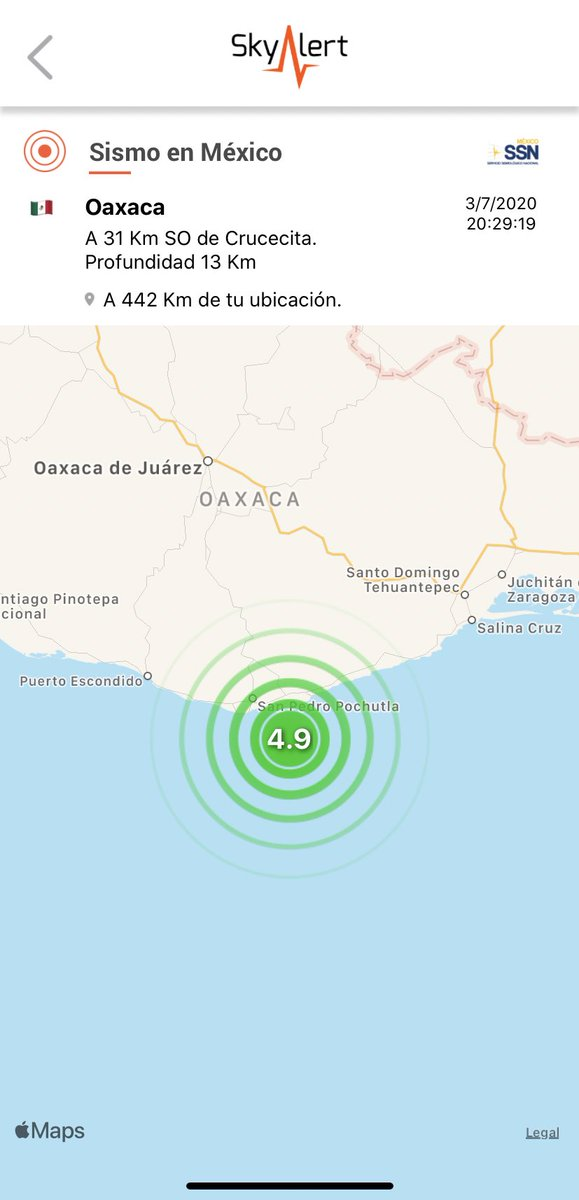 Magnitud final SSN: 4.9 a 31 km al surponiente de Crucecita, Oaxaca.  Detectado por @RedSkyAlert con intensidad «leve» en epicentro. Imperceptible en zona centro. Se han registrado más de 5,121 réplicas del terremoto de 7.4 en Huatulco del 23 de junio. https://t.co/6ScqKiijNz
