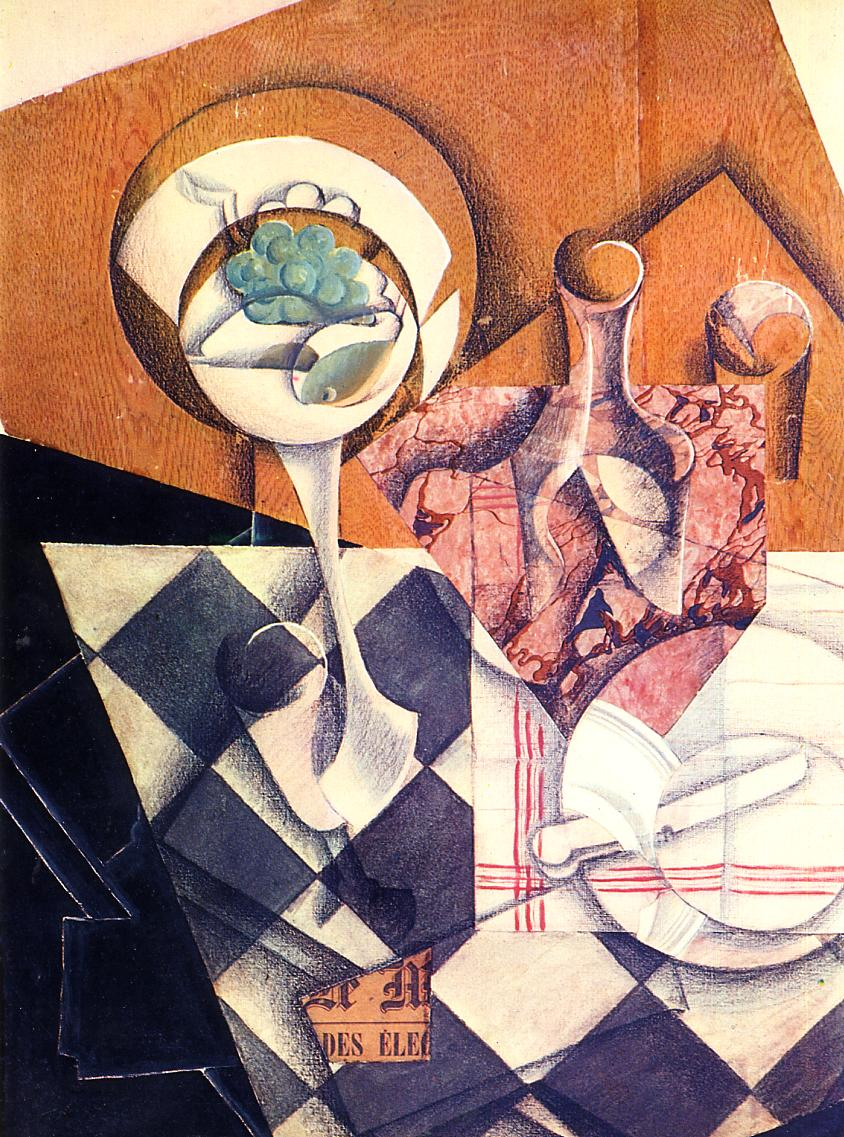 Fruit Bowl with Bottle, 1914 #syntheticcubism #juangris <br>http://pic.twitter.com/ybIwvJ93Ju
