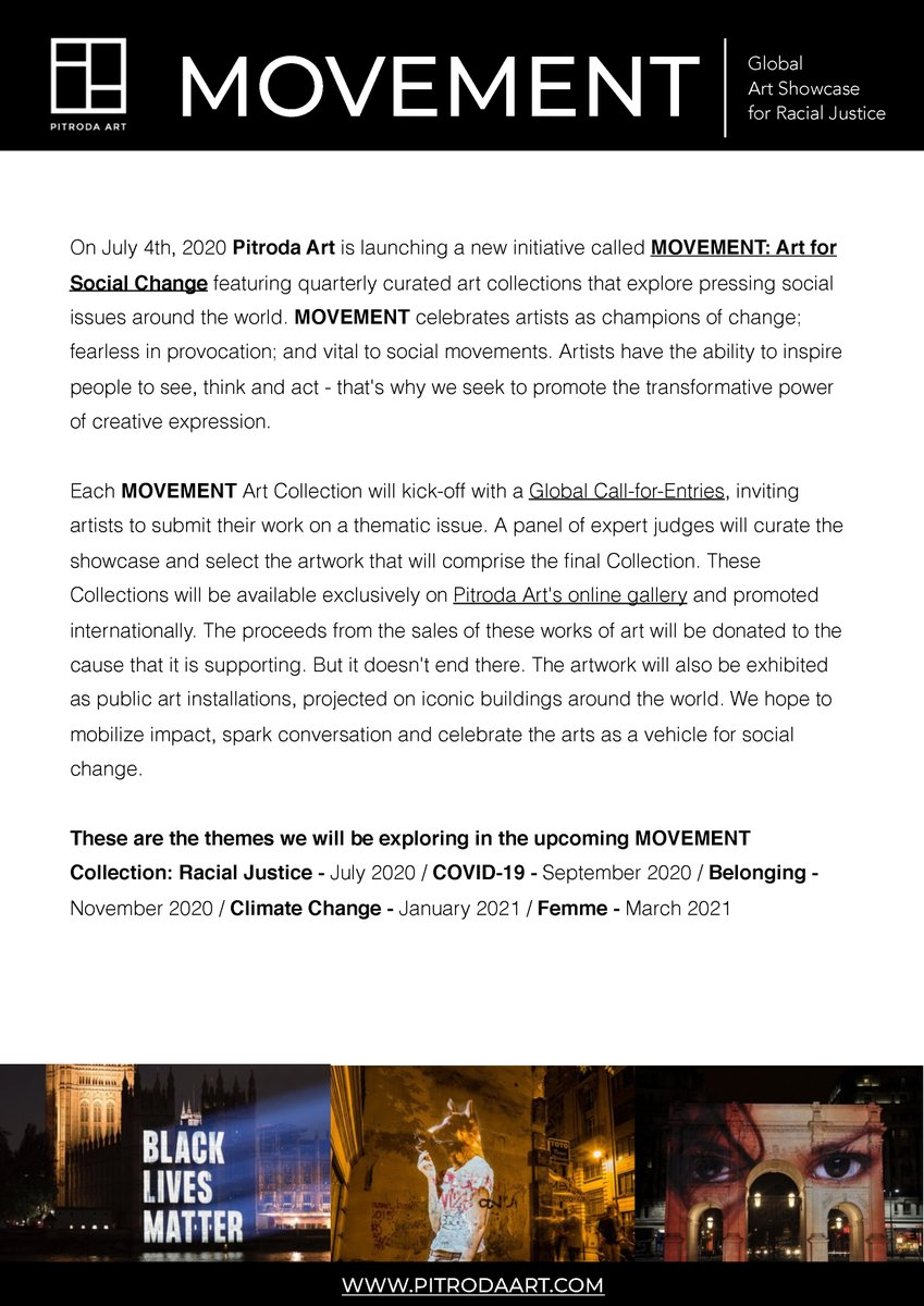 Pitroda Art is kicking off, 'Movement' a global art showcase that celebrates the arts as a vehicle for change.  On July 4th, 2020 we will announce an open-call-for-artists around the world to submit their creative works on the theme of Racial Justice. https://t.co/llNpTe5ciY