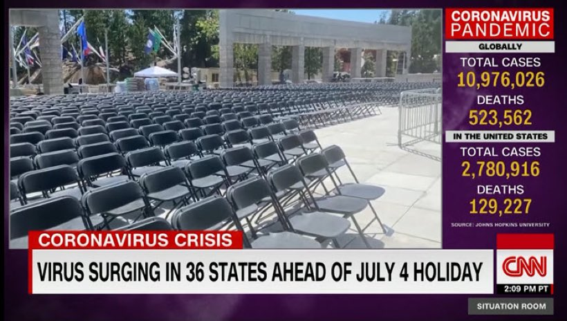 Many of the seats at Trump's speech tonight at Mount Rushmore are being ziptied together, guaranteeing no social distancing for scores of people attending the event. Discussing all of this and more on @CNNSitRoom this evening. Filling in for Wolf.
