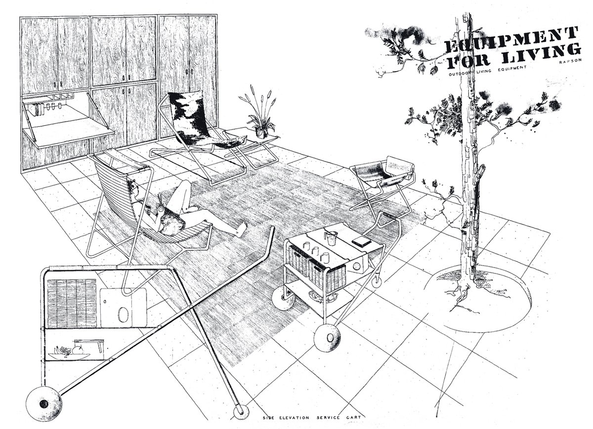 Lazy days. Ralph Rapson, Equipment for Living, Service Cart for Leland International #architecture #drawing #drafting #rendering #illustration #graphicnovel #comics #industrialdesign #productdesign #furnituredesign #midecenturymodern #hospitality #inspiration #singlehandedlypic.twitter.com/REO9ar140c