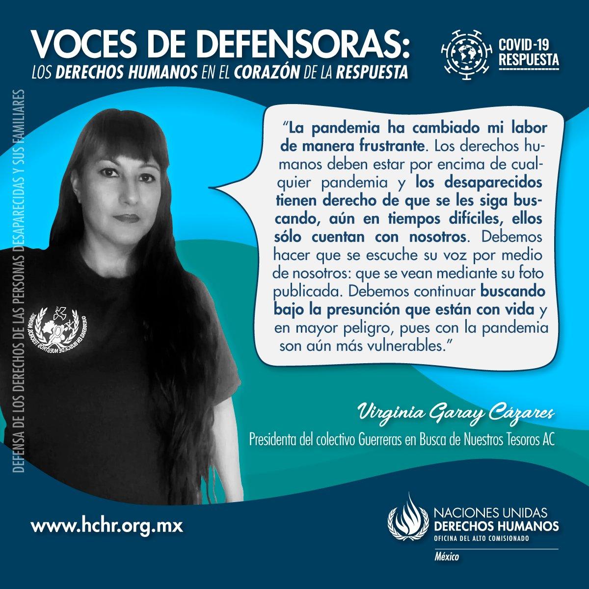 Virgina Garay, presidenta de @GuerrerasNayar2 resalta mediante su voz que la búsqueda de las personas desaparecidas no puede cesar en medio de la pandemia.  ¡Comparte!  #VocesDeDefensoras #ONUMxCovid19 https://t.co/YQYjphEJkz
