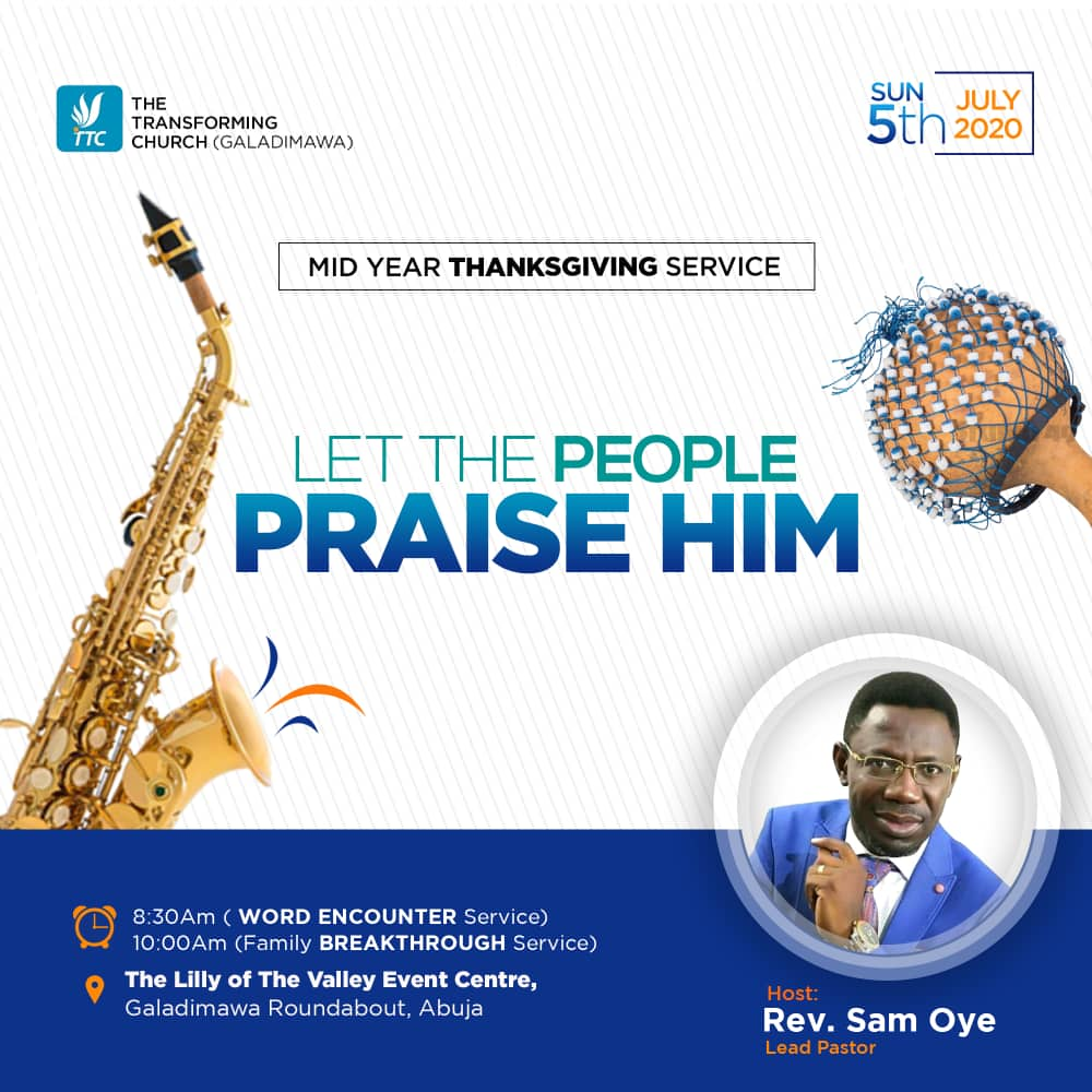 """Join us this Sunday for Our Mid-year Thanksgiving Service Themed """"Let People The People Praise Him"""". Time: 8:30am for """"Word Encounter Service"""" and 10:00am for """"Family Breakthrough Service"""". You don't want to miss it. . . . Details on flyer #thanksgivingservice #thanksgiving https://t.co/chc9TnMGYM"""