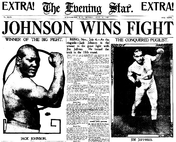 "Jack Johnson famously retained his world heavyweight crown with a Round 15 TKO of ex-champion Jim Jeffries at Reno, Nevada, in ""The Fight of the Century"" #OnThisDay in 1910. <br>http://pic.twitter.com/MHWDgIL2cL"