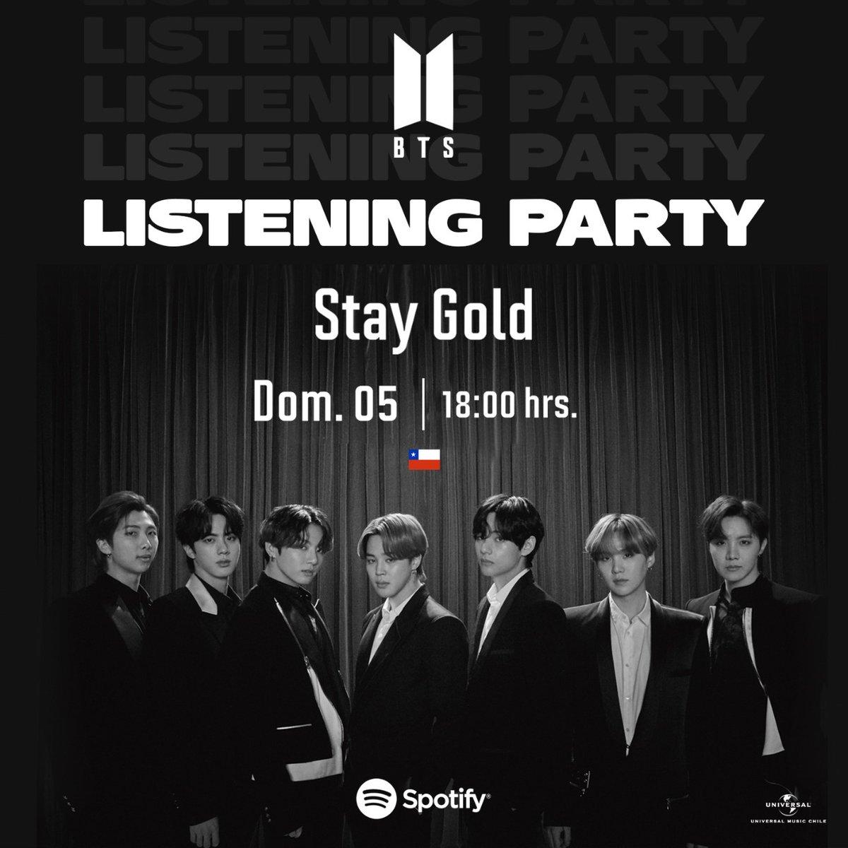 ¡Afina tu garganta! Que el próximo domingo a las 18:00 hrs. nos estaremos uniendo al Listening Party de @BTS_twt para escuchar #StayGold. open.spotify.com/track/0UwQTbq7…