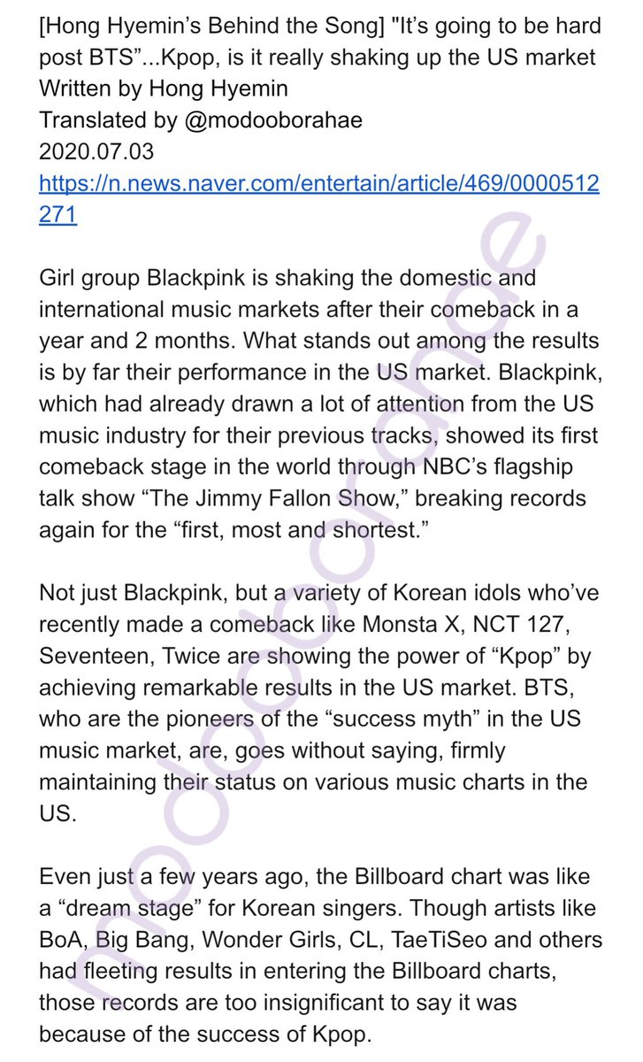 """""""It will be difficult for there to be an artist to be as successful as BTS in the next few years in the US market."""" An interesting column about the state of Kpop in the US music industry. @BTS_twt #BTS #방탄소년단 🔗 n.news.naver.com/entertain/arti…"""