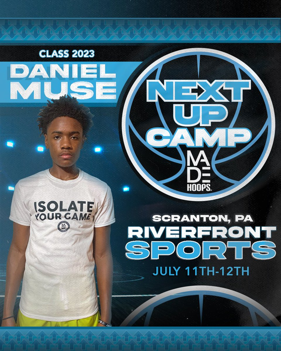 2023 Daniel Muse is LOCKED IN 🔐 and ready to show out at Next Up Camp! 💪  Are YOU Next Up? It's time to #CreateYourName.  🗓: July 11th-12th, 18th-19th, & 25th-26th ⛹️: Classes 2021-2026 🏟: Riverfront Sports 📍: Scranton, PA 🎥: Live Streamed  🎟: https://t.co/Pwy8j4Nvqa https://t.co/YcVnTDaYS7