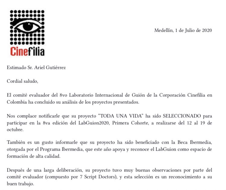 """🔥 🔥 Mi proyecto de largometraje """"Toda una vida"""" fue elegido para el 8vo Laboratorio Internacional de Guión en Colombia. Además me dieron la beca de Ibermedia💃✈️ https://t.co/yGcwQvsRHi https://t.co/91glZWO7ls"""