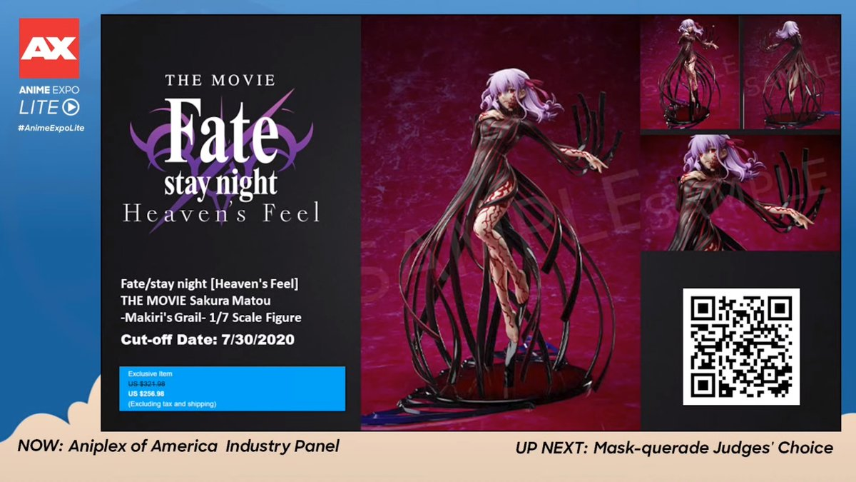The previously shown Fate/Stay Night: Heaven's Feel Sakura Matou (Makiri's Grail Version) 1/7-scale figure was shown at Anime Expo Lite. Available for pre-order until July 30. <br>http://pic.twitter.com/p6InTAPTTF