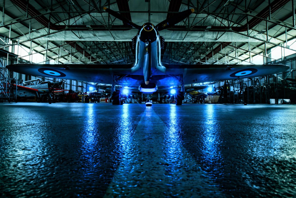 A @RAFBBMF Hurricane has been lit up in blue as an act of remembrance and reflection for all who have been lost to COVID-19.  #LightItBlue is a chance for the nation to come together and pay our respects.  #NHSBirthday #NHS72 https://t.co/kQCN6lgmBI